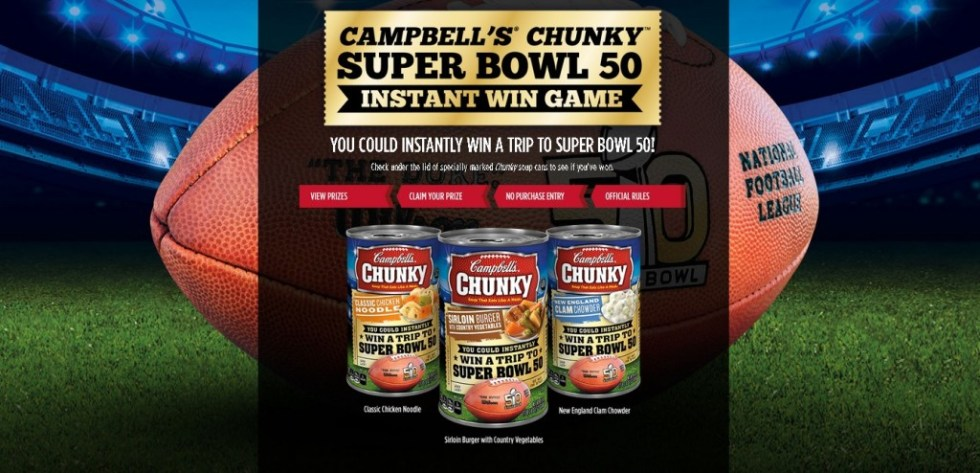 Campbell's Chunky Super Bowl 50 Instant Win Game