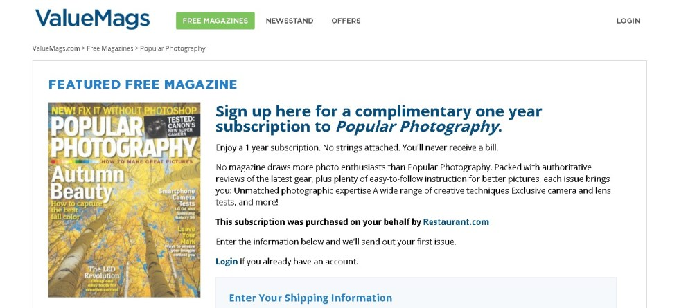 Complimentary one year subscription to Popular Photography at Valuemags (2)