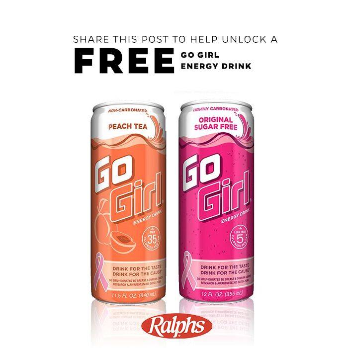 FREE Ralphs Ultimate Tailgate 12 oz. can of Go Girl energy drink in Original or Peach