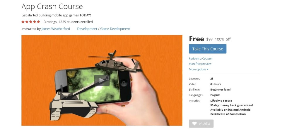 FREE Udemy Course on App Crash Course