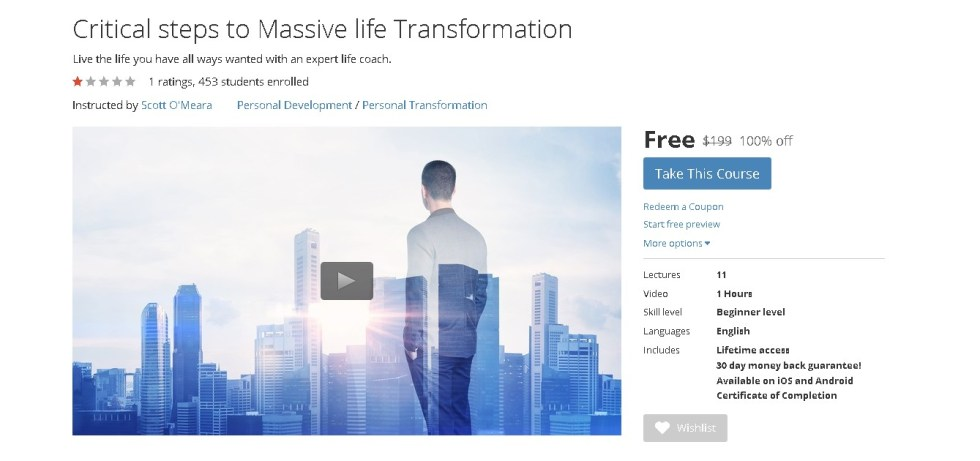 FREE Udemy Course on Critical steps to Massive life Transformation