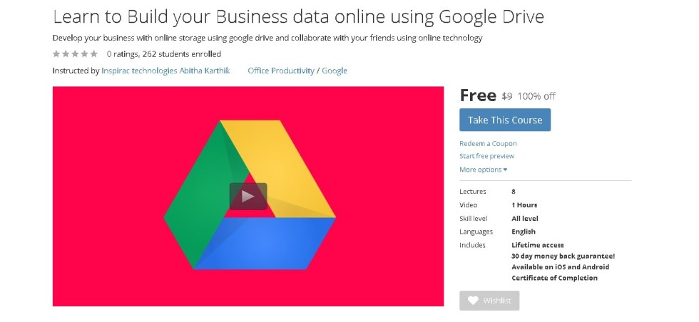 FREE Udemy Course on Learn to Build your Business data online using Google Drive