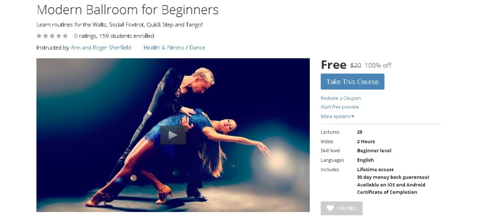 FREE Udemy Course on Modern Ballroom for Beginners