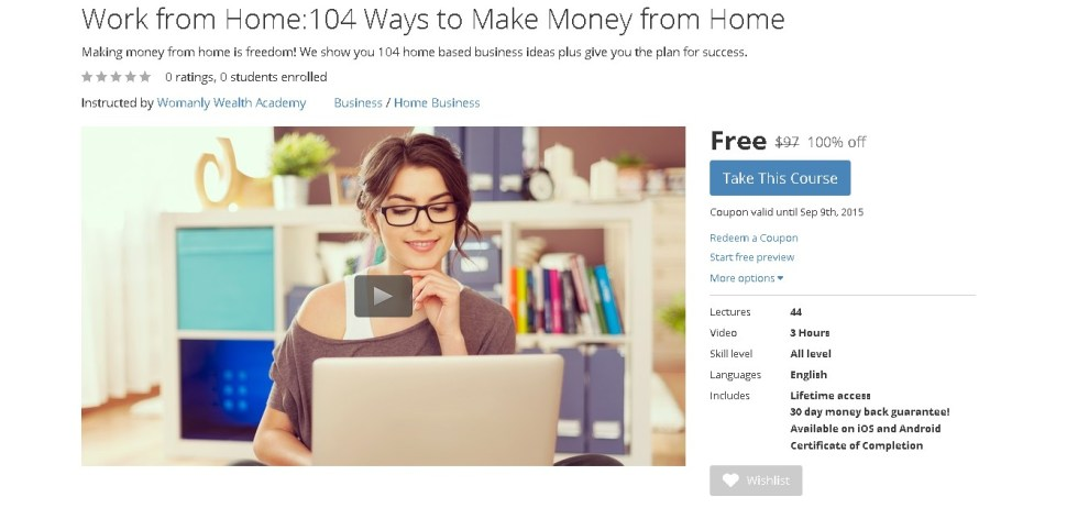 FREE Udemy Course on Work from Home104 Ways to Make Money from Home