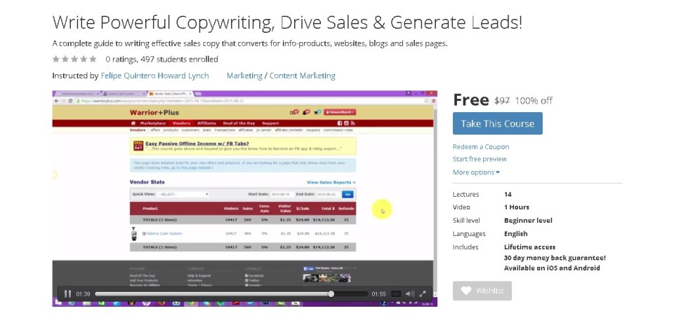 FREE Udemy Course on Write Powerful Copywriting, Drive Sales & Generate Leads!