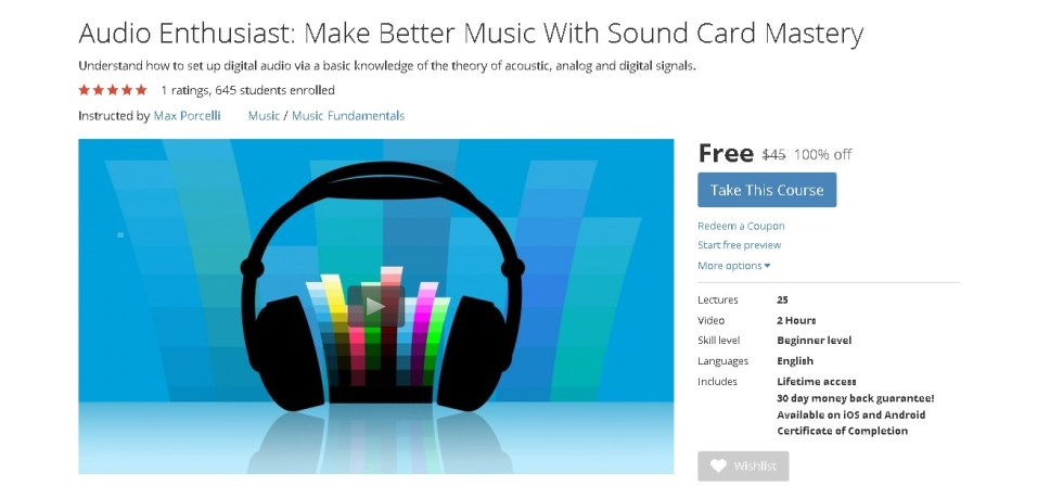 Free Udemy Course on Audio Enthusiast Make Better Music With Sound Card Mastery 1