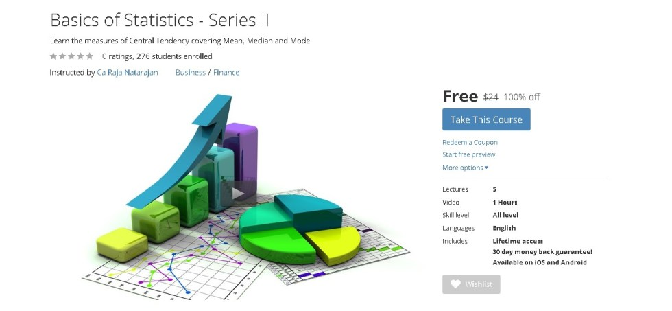 Free Udemy Course on Basics of Statistics - Series II
