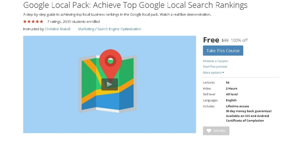 Free Udemy Course on Google Local Pack Achieve Top Google Local Search Rankings