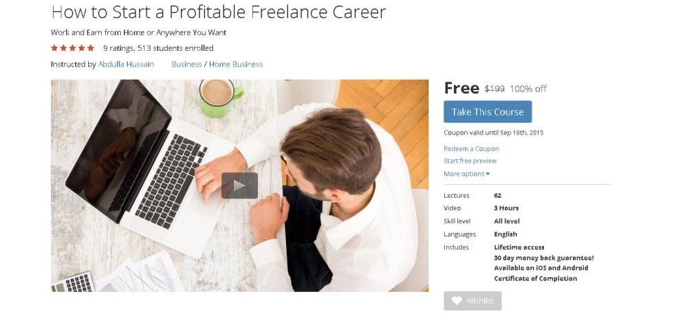Free Udemy Course on How to Start a Profitable Freelance Career