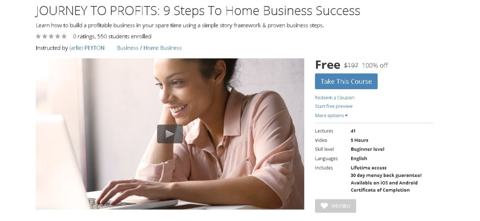 Free Udemy Course on JOURNEY TO PROFITS 9 Steps To Home Business Success 1