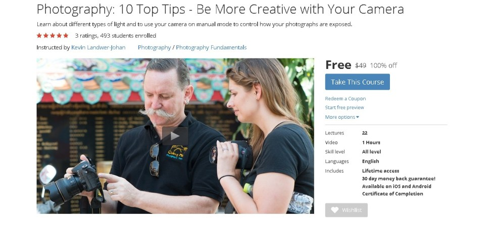 Free Udemy Course on Photography 10 Top Tips - Be More Creative with Your Camera