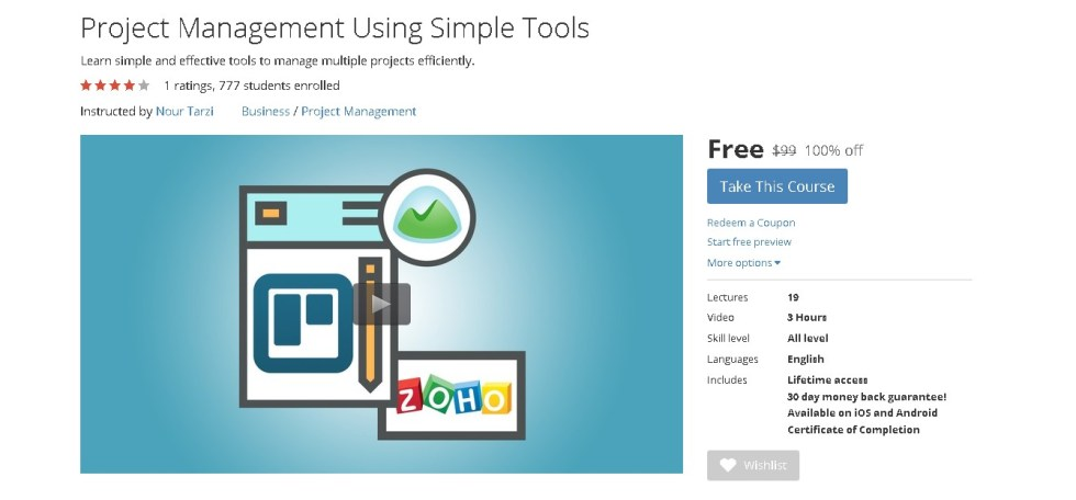 Free Udemy Course on Project Management Using Simple Tools