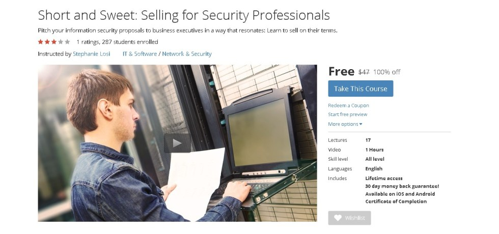 Free Udemy Course on Short and Sweet Selling for Security Professionals  1