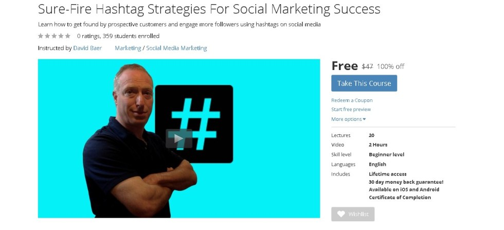 Free Udemy Course on Sure-Fire Hashtag Strategies For Social Marketing Success