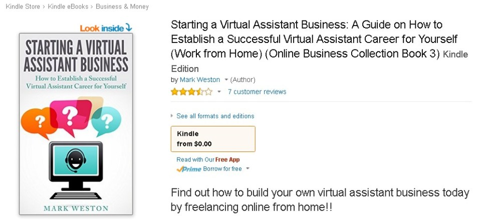 Free at Amazon Starting a Virtual Assistant Business A Guide on How to Establish a Successful Virtual Assistant Career for Yourself 1