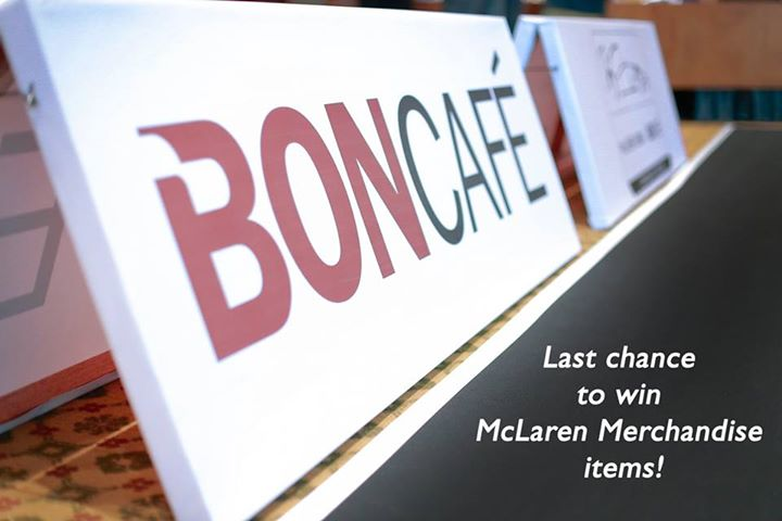 Last chance to win McLaren Merchandise items at Boncafe International - Singapore