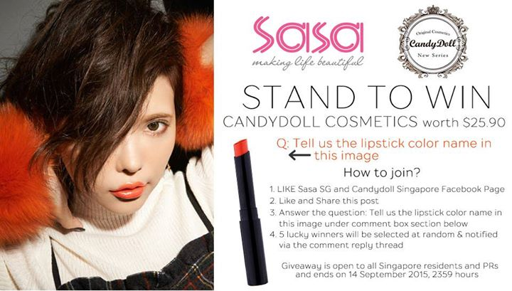 SASA Singapore Giveaway Win CandyDoll cosmetics worth $25.90
