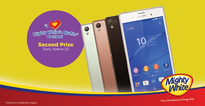 "WIN Sony Xperia Z3, by joining in the ""I Love Mighty White's Muffin"" contest at Mighty White"