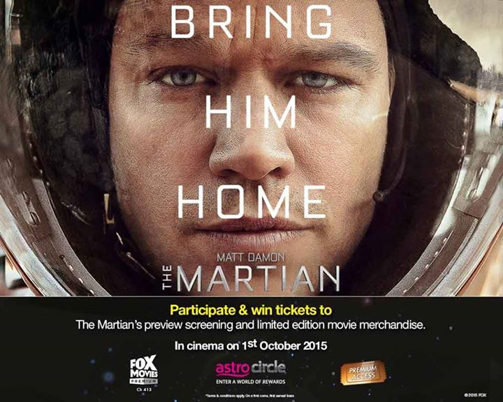 WIN tickets and limited edition The Martian movie merchandise at Astro Circle Malaysia