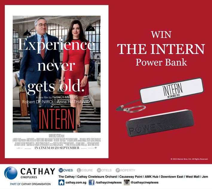 Win THE INTERN Power Bank movie premiums at Cathay Cineplexes Singapore