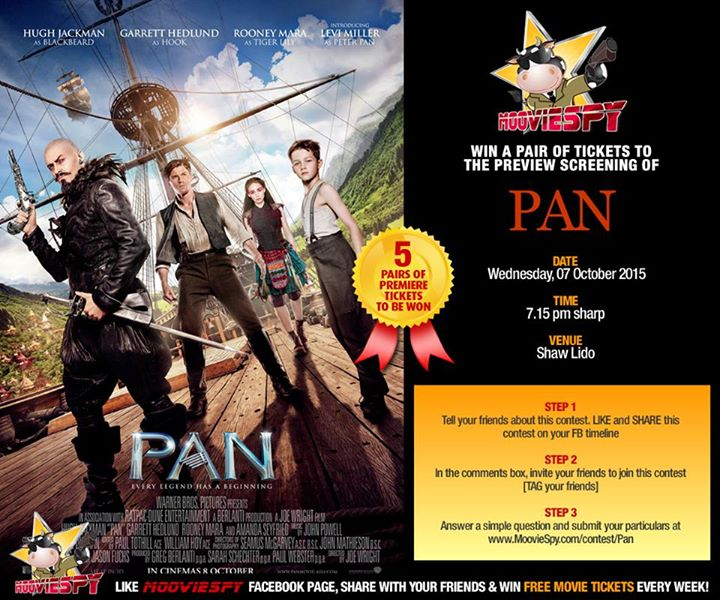 Win a pair of tickets to the preview screening of PAN at MoovieSpy Singapore