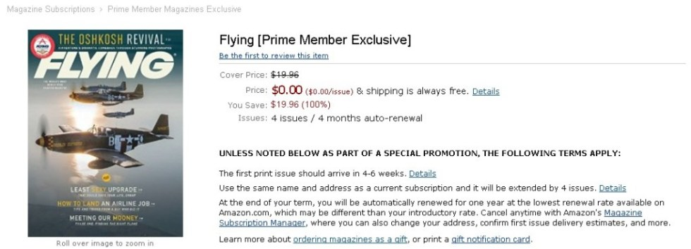 FREE Flying [Prime Member Exclusive] at Amazon