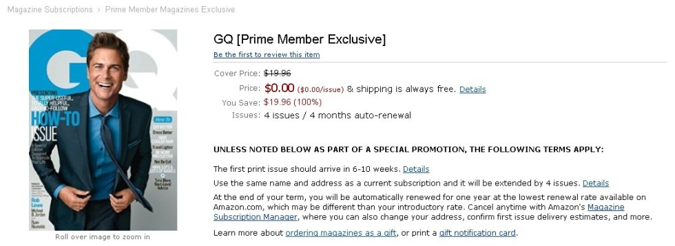 FREE GQ [Prime Member Exclusive] at Amazon
