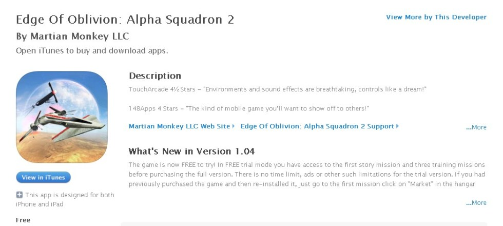 FREE Game at iTunes- Edge Of Oblivion Alpha Squadron 2