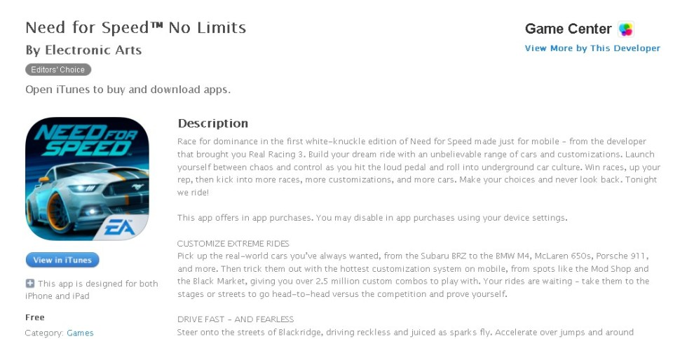FREE Game at iTunes Need for Speed™ No Limits