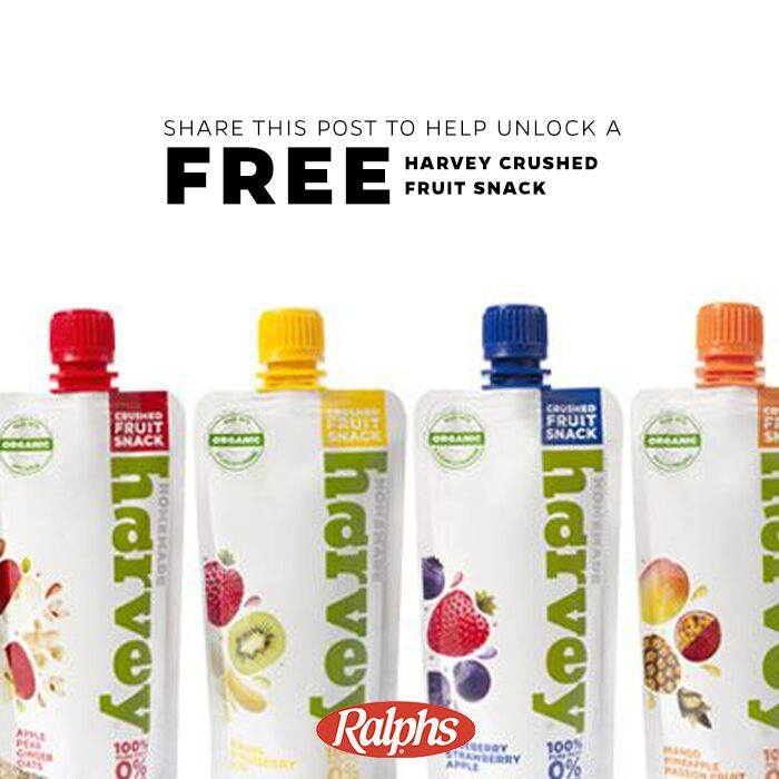FREE Ralphs Ultimate Tailgate coupon for a 4.5 ounce package of Organic Homemade Harvey Squeeze Fruit