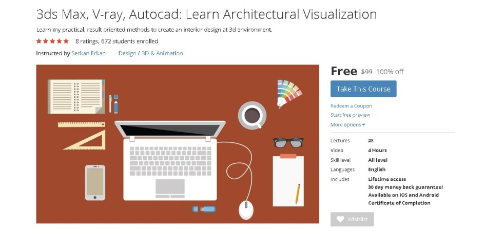 FREE Udemy Course on 3ds Max, V-ray, Autocad Learn Architectural Visualization