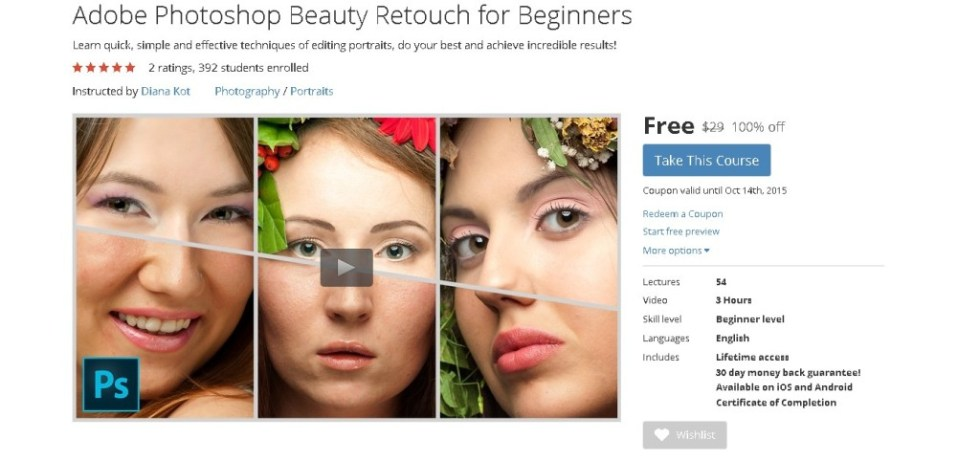 FREE Udemy Course on Adobe Photoshop Beauty Retouch for Beginners