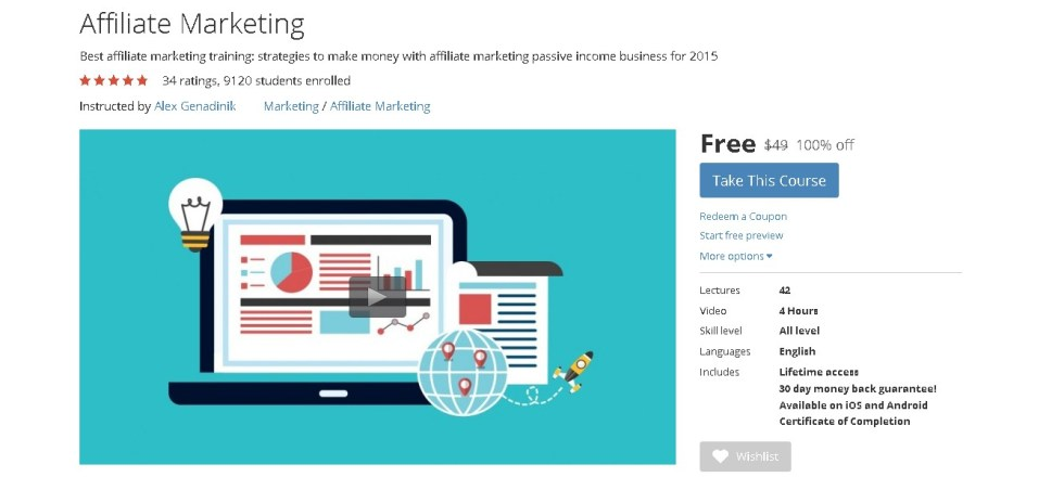 FREE Udemy Course on Affiliate Marketing