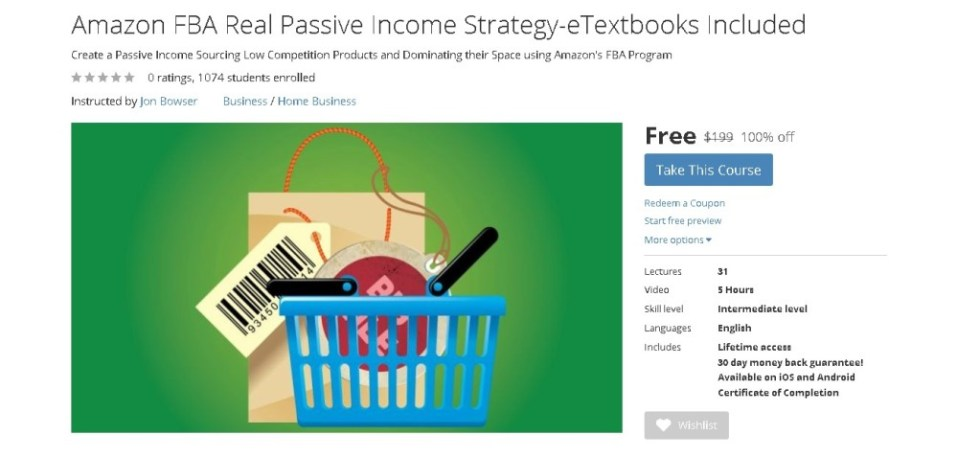 FREE Udemy Course on Amazon FBA Real Passive Income Strategy-eTextbooks Include
