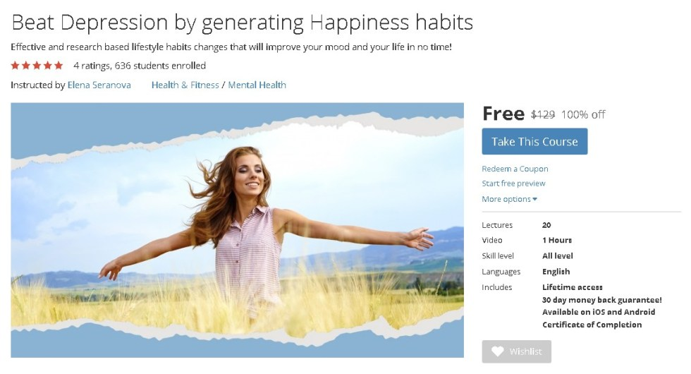 FREE Udemy Course on Beat Depression by generating Happiness habits