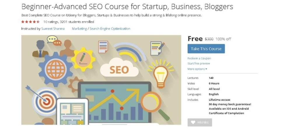 FREE Udemy Course on Beginner-Advanced SEO Course for Startup, Business, Bloggers