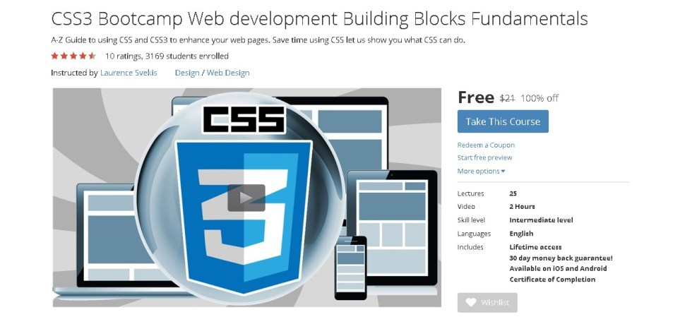 FREE Udemy Course on CSS3 Bootcamp Web development Building Blocks Fundamentals