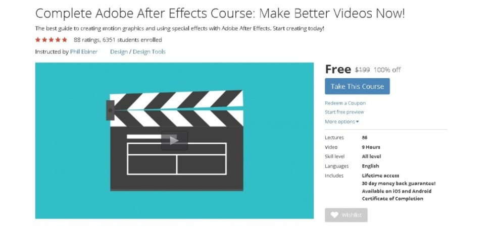 FREE Udemy Course on Complete Adobe After Effects Course Make Better Videos Now!