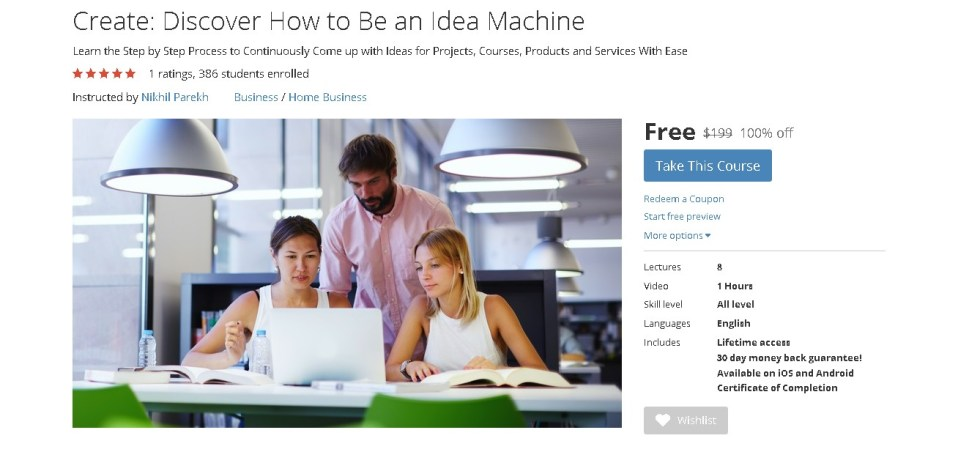 FREE Udemy Course on Create Discover How to Be an Idea Machine