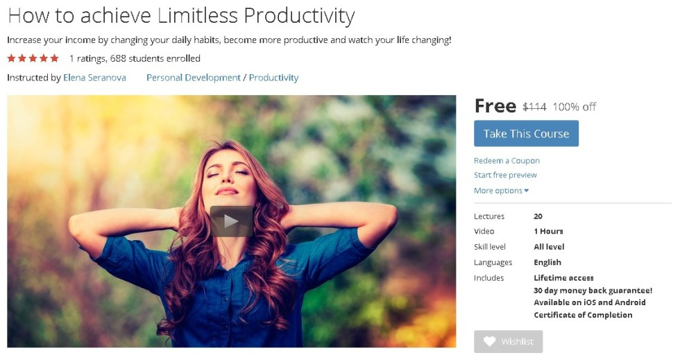 FREE Udemy Course on How to achieve Limitless Productivity