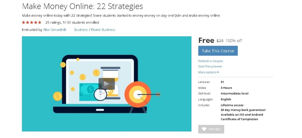 FREE Udemy Course on Make Money Online 22 Strategies