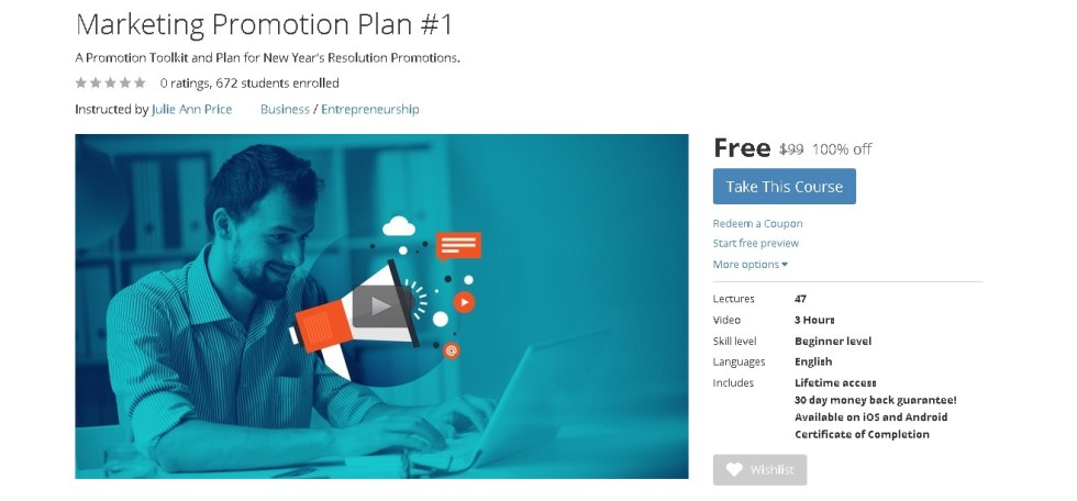 FREE Udemy Course on Marketing Promotion Plan #1