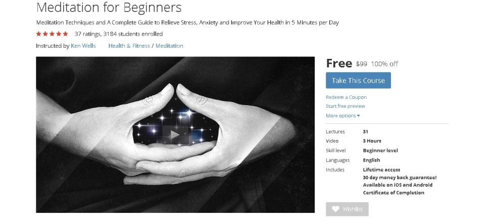 FREE Udemy Course on Meditation for Beginners