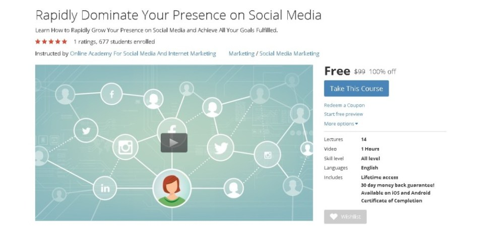 FREE Udemy Course on Rapidly Dominate Your Presence on Social Media