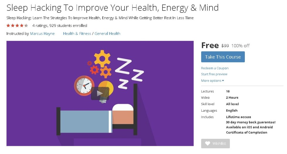 FREE Udemy Course on Sleep Hacking To Improve Your Health, Energy & Mind