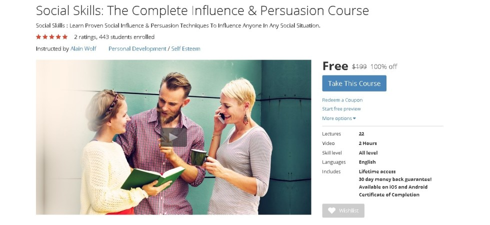 FREE Udemy Course on Social Skills The Complete Influence & Persuasion Course