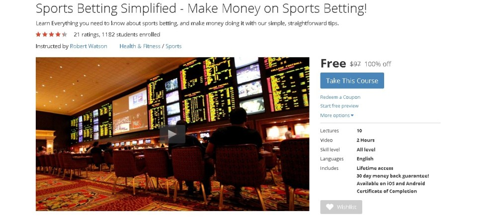FREE Udemy Course on Sports Betting Simplified - Make Money on Sports Betting