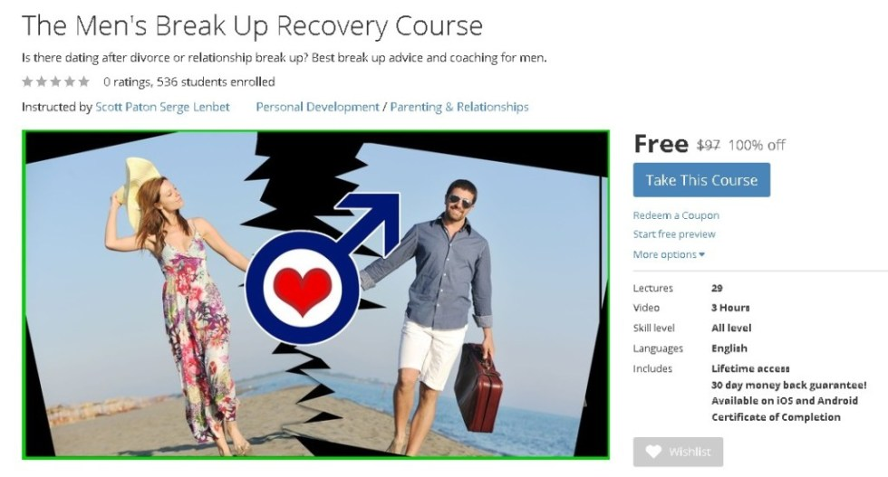 FREE Udemy Course on The Men's Break Up Recovery Course