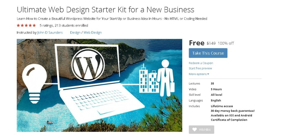 FREE Udemy Course on Ultimate Web Design Starter Kit for a New Business