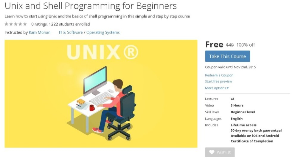 FREE Udemy Course on Unix and Shell Programming for Beginners